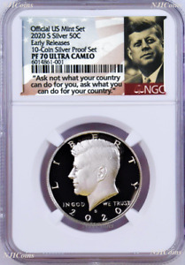2020 S Silver Kennedy Half Dollar NGC PF70 ER Ask Not Label from 10-coin-set