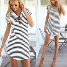 New Women Summer Beach Dress Party Short Sleeve Stripe Blouse Mini Sundress