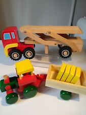 WOODEN CAR CARRIER & TRACTOR AND TRAILER BUNDLE