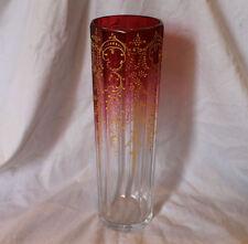 Antique Cylinder shaped Enameled decorated Cranberry Rubina Vase