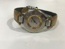 Cartier must de 21 watch with silver and gold tones leather band