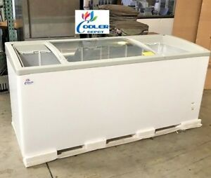 """NEW 72"""" Ice Cream Glass Dipping Freezer Chest Showcase Display Commercial NSF"""
