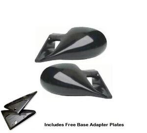 FORD PUMA (97-01) M3 STYLE CAR DOOR MIRRORS BASE PLATES - BLACK ABS