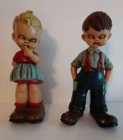 Vintage 1976 Set of 2 Ceramic Cute Boy & Girl with Closed Eyes Figurines