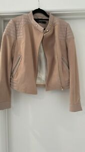 J Brand Cardiff Pink Blush Suede Leather Quilted Moto Jacket New XS