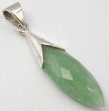 Green Aventurine Pendant Solid Sterling Silver Nouveau Handmade Jewellery