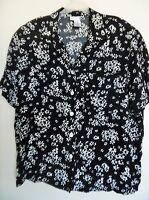 Blouse Rena Rowan for Saville Womens 16W Shirt Floral Top Black
