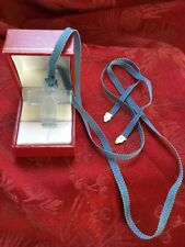 MIB FLAWLESS Stunning BACCARAT France Blue Crystal CROSS PENDANT & NECKLACE
