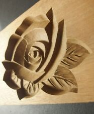 19ksg89 JAPANESE KASHIGATA CAKE MOLD ROSE FLOWER WOOD HAND CARVED VINTAGE