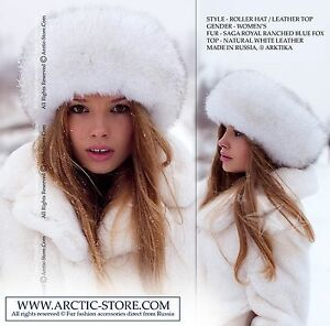 Luxe Roller Round Fur Hat Chapka Blue Polar White Fox Natural Leather Top