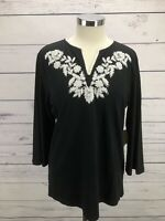 COLDWATER CREEK 3/4 Sleeve Embroidered V-Neck Pullover Black Top Shirt Size L