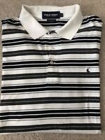 Polo Golf Ralph Lauren Mens White Striped Short Sleeve Polo Shirt Large EUC!!