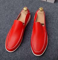 Mens Flat Soft Leather Slip On Driving Breathable Moccasin Loafers Leisure Shoes