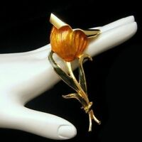Vintage Brooch Pin Huge Bright Enamel Flower Yellow Gold Orange Green