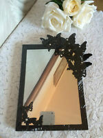 BUTTERFLY MIRROR WITH DIAMANTE - BLACK OR WHITE - 21.5 x 16.5cm