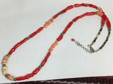 Orange white spiny oyster shell /turquoise/coral nuggets necklace (w712h-w0.5)