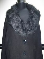 elegante Damen Übergangs Jacke Kunstpelz Kragen abnehmbar schwarz Gr. 46 - NEU