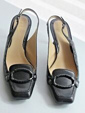Cole Haan size 8.5B Black leather slingbacks womens shoes heels pump D23599