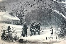 Winter Sport 1867 RABBIT TRAP SNARE HUNTING HUNTERS GAME Matted Engraving Print
