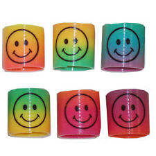 12pcs Mini Plastic Slinky Smiley Face Springs Rainbow Party Bag Fillers Toys