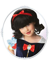Child Princess Snow White Wig Fancy Dress Costume Disney Headwear Kids girls BN