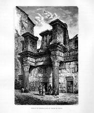 Stampa antica ROMA Tempio di Minerva le colonnacce 1877 Old print Rome