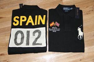 Ralph Lauren Men Black Shirt Spain Flag Big Pony L Large Custom-Fit RL Olympic