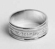 .925 Sterling Silver Irish Handcrafted Claddagh Design Thumb Ring