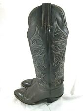 Hondo Gray Leather Tall Cowboy Boots Mens Size 7.5 A