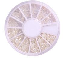 Fashion 3 Sizes Nail Art White Pearl Rhinestone Decoration+Wheel Nice White TSUS