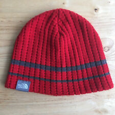 EUC The North Face Red Beanie Hat With Blue Stripes Made In Canada