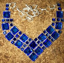 Fantastic Faceted Blue Tanzanite Quartz Gemstone Handmade Necklace