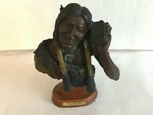 """Bronze statue of Indian man """"Magical Music Box"""" by Clyde Ross Morgan 1987  10/45"""