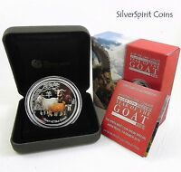 2015 YEAR OF THE GOAT PERTH ANDA COLOURED 2oz Silver Lunar Coin Show Special