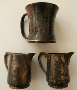 Lot of  2 Antique Jugs & 1 Tankard (LR EPNS A1) Aged Patina