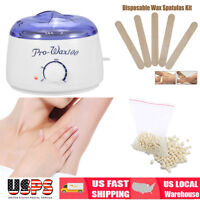 Pro Wax Kit Heater Pot Salon Waxing Hair Removal w/100g Brazilian Hot Wax Bean