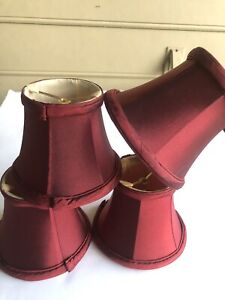 Lot of 4 Satin Chandelier Mini Clip On  Lamp Shades Burgundy Used