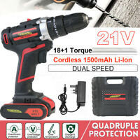 21V Cordless Drill Driver Hammer Impact 1.5Ah Li-Ion Fast Charge Variable Speed