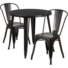 30''Round Black Antique Gold Metal Outdoor Restaurant Table Set w/2 Cafe Chairs