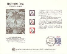 B97, HOUPEX 1986, 100th Anniversary of the Statue of Liberty, BEP Souvenir Card!