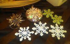 Lot of 7 Vintage Snowflake Christmas Tree Holiday Winter Ornaments