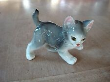 """VINTAGE CERAMIC CAT ORNAMENT WITH WHISKERS APPROX. 4.5"""" LONG"""