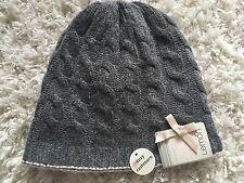 Lemon Women's Hat Reversible Cozy Cashmere Wool Charcoal Gray Blush Pink NWT