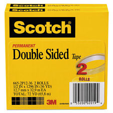 """Scotch 665 Double-Sided Tape 1/2"""" x 1296"""" 3"""" Core Transparent 2/Pack 6652P1236"""