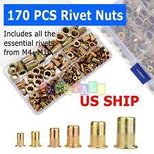 170 pcs Zinc SteelRivet Nut Kit Rivnut Nutsert Assort 150pcs Metric+150pcs SAE