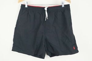 Polo Ralph Lauren Mens sz XL Black Swim Trunks Lined Shorts Red Pony