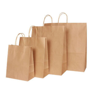 All Sizes Brown Paper Party Gift Fashion Bags With Strong Twisted Handles