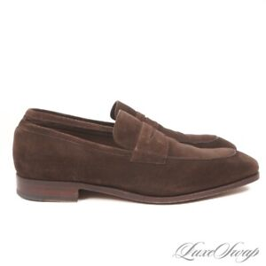 Carmina Mallorca 10082 Goodyear Welted Brown Suede Penny Loafers Shoes 9.5 NR