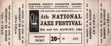 ROLLING STONES 1964 ORIGINAL 4th NATIONAL JAZZ FESTIVAL UNUSED TICKET / LETTER