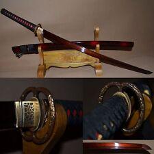 Black&Red Folded Steel Full Tang Blade Japanese Samurai Sword Hand Forge Katana